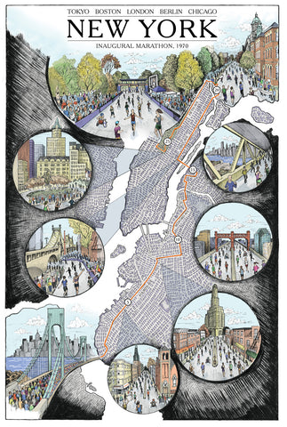 "New York: The Marathon Map (12"" x 18"")"