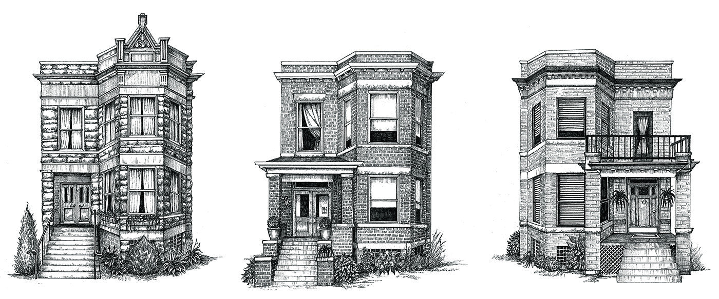 "Siblings: Chicago Two-Flats (11"" x 17"", signed) - As seen in the movie ""The Big Sick!"""