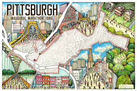 "Pittsburgh: The Marathon Map (12"" x 18"")"