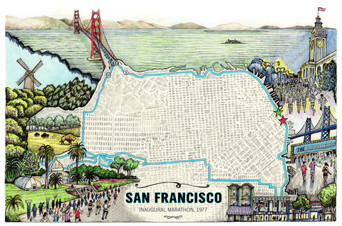 "San Francisco: The Marathon Map (12"" x 18"")"
