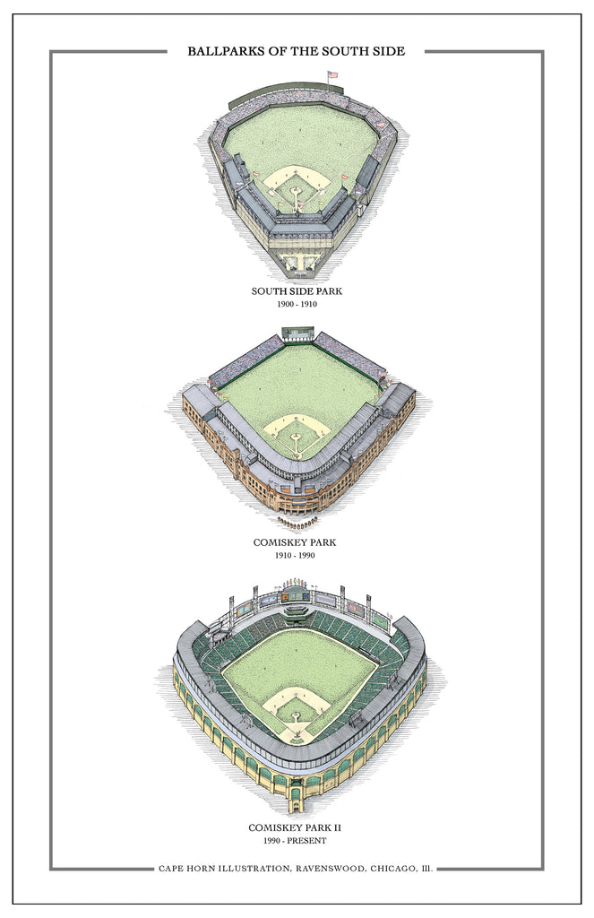 "Ballparks of the South Side (11"" x 17"")"