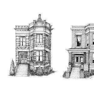 "Siblings: Chicago Two-Flats (11"" x 17"", signed)"
