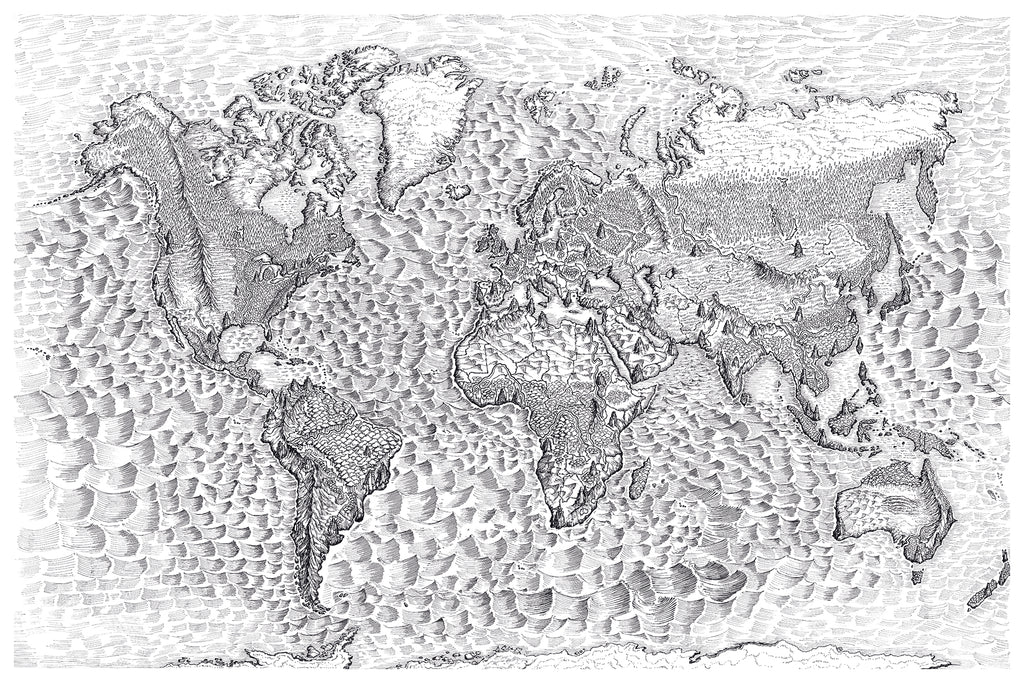 World Map in Ink