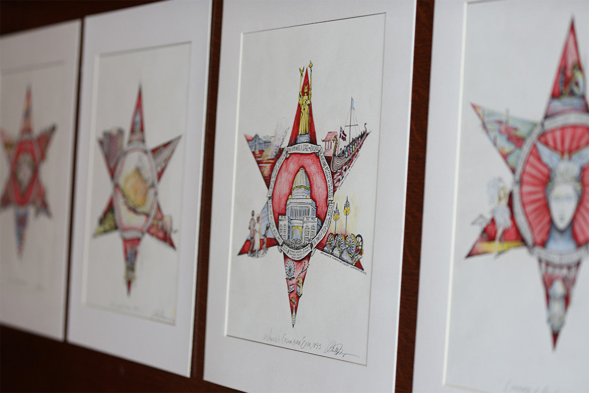 "The Four Chicago Stars, Illustrated (4 prints / 11"" x 14"" ea. / signed and titled)"