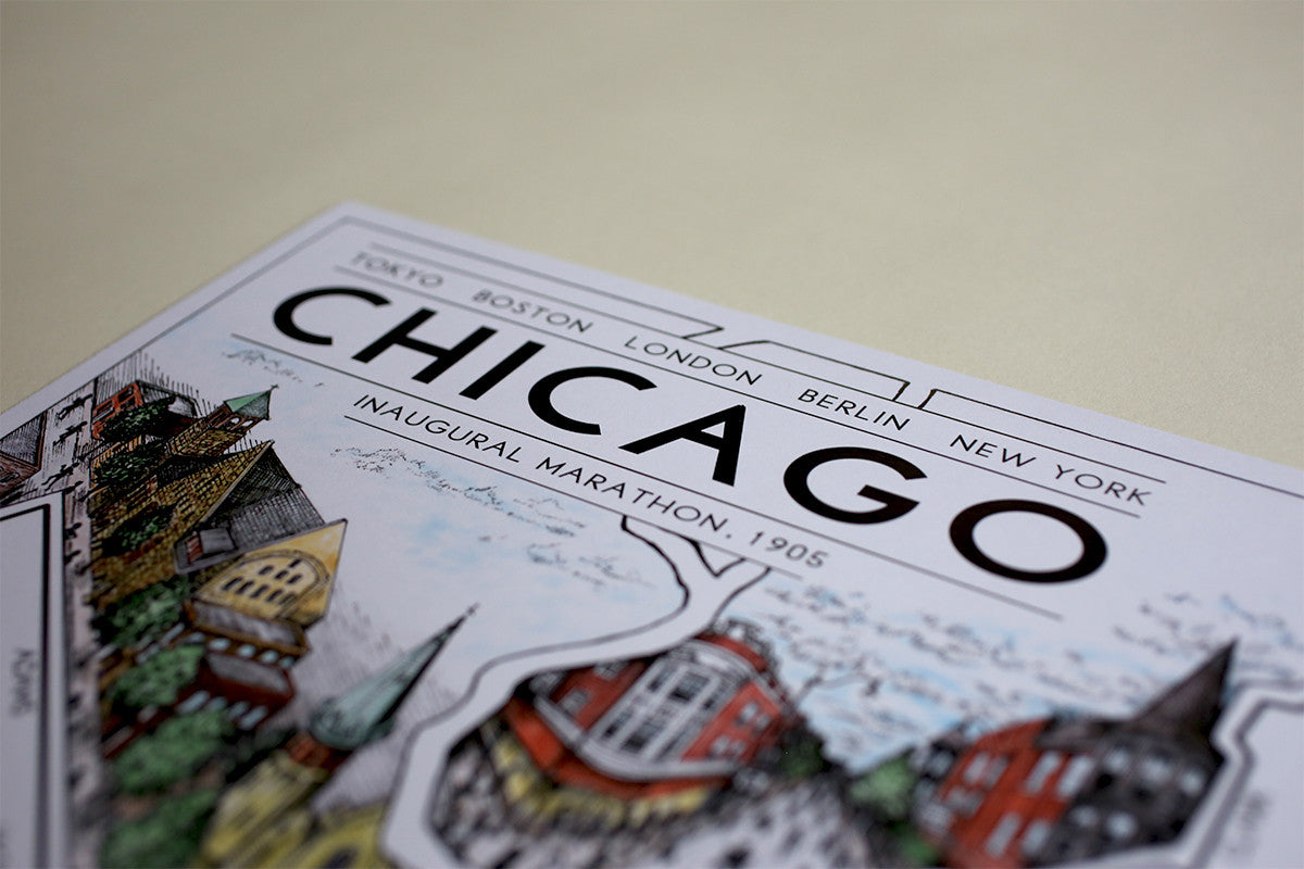 "Chicago: The Marathon Map (12"" x 18"")"