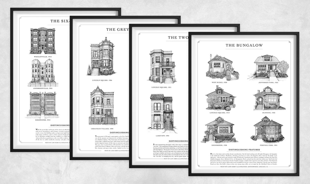 "Set: FOUR Home Styles prints (11""x14"" 
