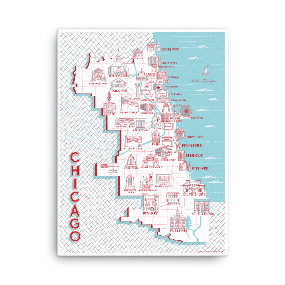 "Chicago Map of Landmarks (18"" x 24"")"