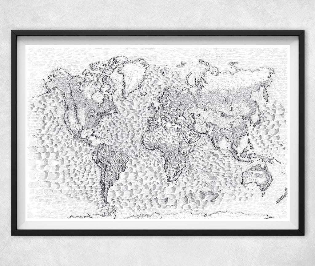 "World Map in Ink (12""x18"" 