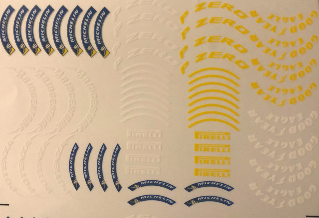 Copy of F1PAINTLAB F1 DECAL SHEET (TYRE DECALS GOOGYEAR BRIDGESTONE MICHELIN PIRELLI)