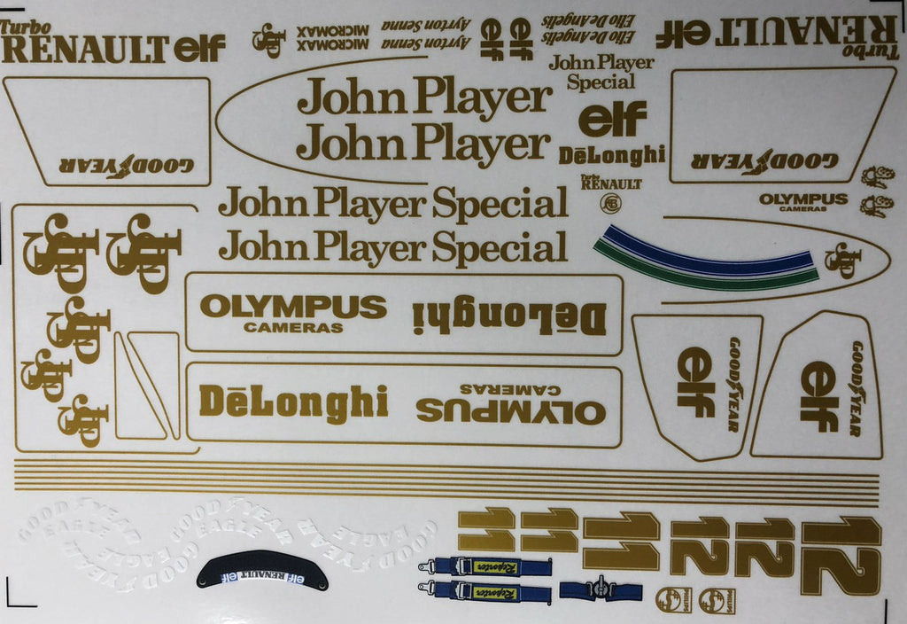 F1PAINTLAB F1 DECAL SHEET 1986 Lotus JPS