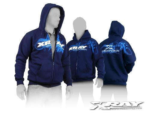XRAY 395600XXL Sweater Hooded With Zipper - Blue (XXL)  [XRA395600XXL]