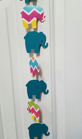 Teal and Multi Colored Chevron Elephant Paper Garland Streamer