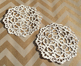 Die Cut French Script Paper Lace Doilies