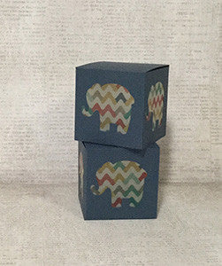 Navy Blue With Chevron Elephant Shaped Windows Favor Gift Box