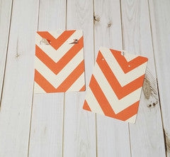 Earring Card, Orange, Ivory Chevron
