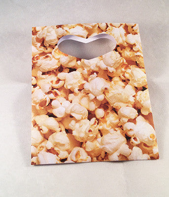Popcorn Theme Paper Favor Bags with Die Cut Heart Handles