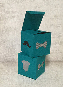 Teal Favor Gift Box with Grey Onesie, Chevron Bowtie, Black Mustache