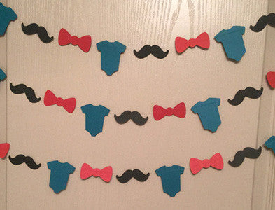 1 Black Mustache, Red Bow Tie, Teal Onesie Paper Garland for Little Man Themed Baby Shower, Birthday Party, Baby Nursery
