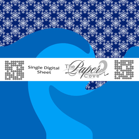 Single Sheet Digital Blue Waves with Snowflakes Scrapbook Paper