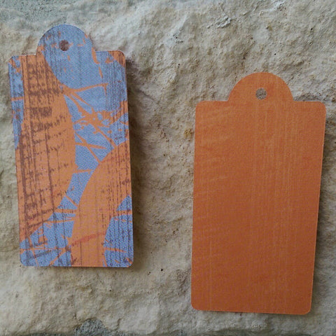 "Gift Tags, 1.25"" x 2.5"" Reversible Orange and Denim Blue"