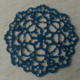 "Paper Lace Doilies, Invitation Embellishment Blue with White Stars 3.5"", Set of 12"