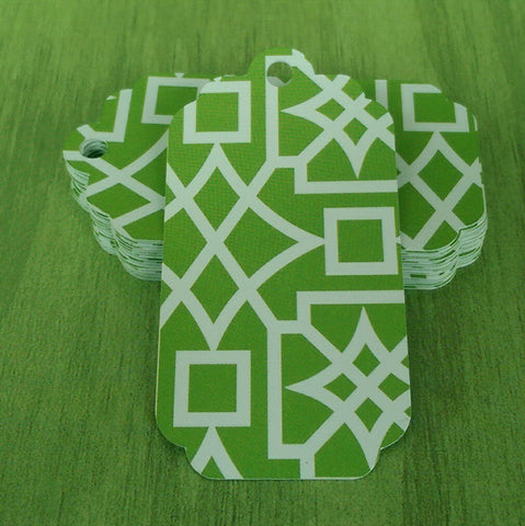 Green and White Paper Aztec Design Tags - 24