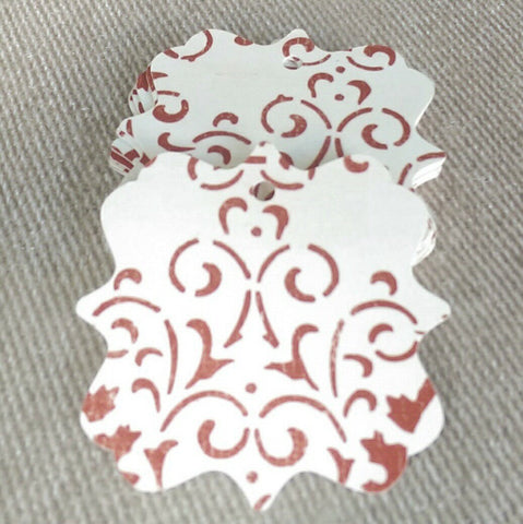 Gift Tags Vintage Rust Damask Style Bracket - 25