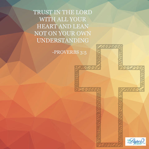 Digital Download Inspirational Religious Scrapbook Paper- Proverbs 3:5