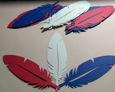 Paper Feathers Red, White, and Blue for Garlands, Napkin Rings, Party Decorations, Scrapbooking(36)