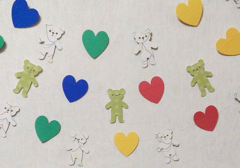 Paper Garlands, Teddy Bear Heart, Baby Shower, Birthday Party Decoration 7 Feet - Reversible (3)