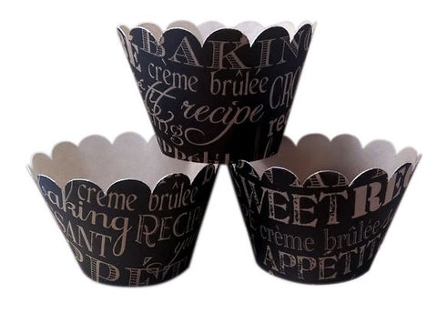 Cupcake Wrapper Wedding, Bridal Shower, Tea Party, Birthday Celebration, Black and Kraft