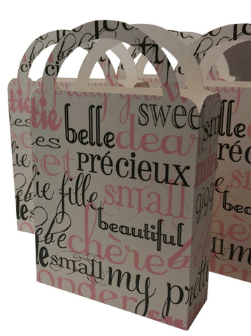 Party Favor Bag/Box French Baby Girl for Birthday Parties, Baby Showers, Pink, Black, Ivory (4)