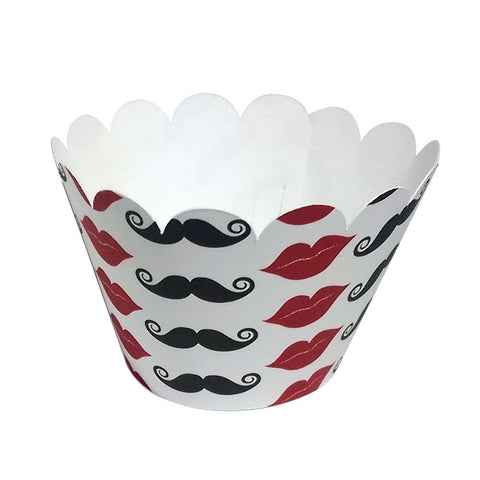 Cupcake Wrapper Mustache and Lips, Baby Shower,Wedding Decoration, Birthday Celebration, Black, Red, White, Little Man Theme Party