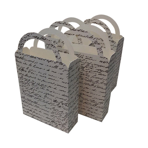 Party Favor Bag/Box French Script for Birthday Parties, Weddings, Bridal Showers, Garden Parties, Anniversary,  Brown, Ivory, Cookie Bag(4)
