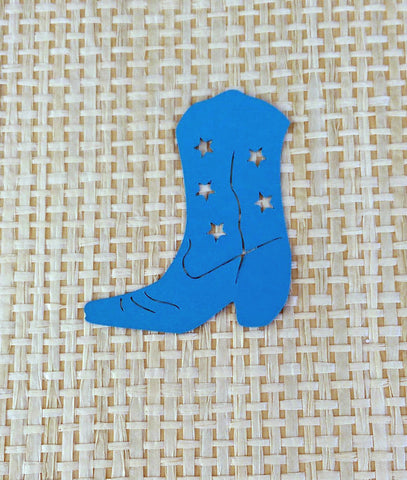 12 Die Cut Blue Cowboy, Cowgirl Boots, Scrapbooking, Card Making, Gift Tags, Rodeo Decoration