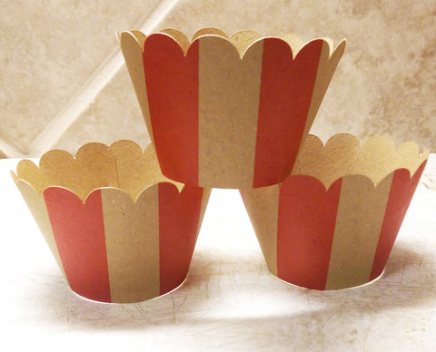 Cupcake Wrapper Kraft Red Stripes Birthday Celebration, Baby Shower, Circus Parties