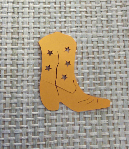 12 Die Cut Yellow Cowboy, Cowgirl Boots, Scrapbooking, Card Making, Gift Tags