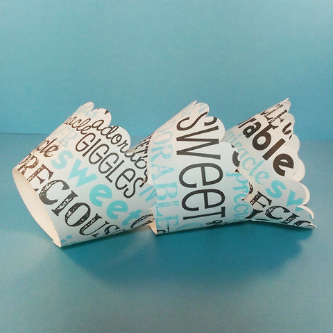 Cupcake Wrapper Little Baby Boy, Baby Shower,Tea Party, Birthday Celebration, Blue, Brown, and Ivory
