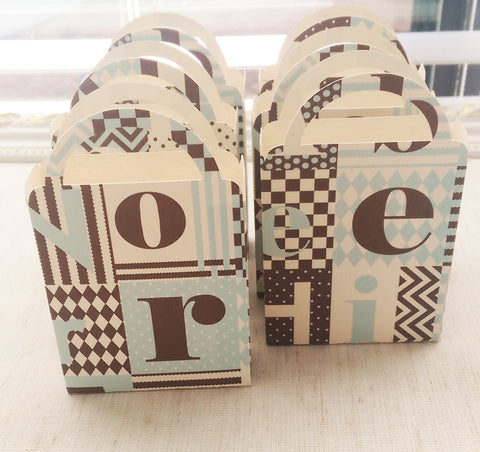 Miniature Baby Boy Alphabet Bag, Brown, Light Turquoise, Ivory Candy Box, Cookie Box, Baby Shower, Birthday Party (6)