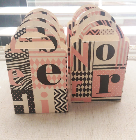 Miniature Baby Girl Alphabet Bag, Pink, Black, Ivory Candy Box, Cookie Box, Baby Shower, Birthday Party (6)