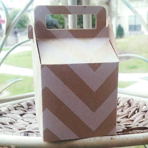 Gable Gift Box White Chevron Kraft for Baby Shower, Birthday Parties, Weddings, Promotional Packaging