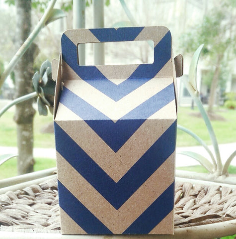 Gable Gift Box Blue Chevron Kraft for Baby Shower, Birthday Parties, Weddings, Promotional Packaging