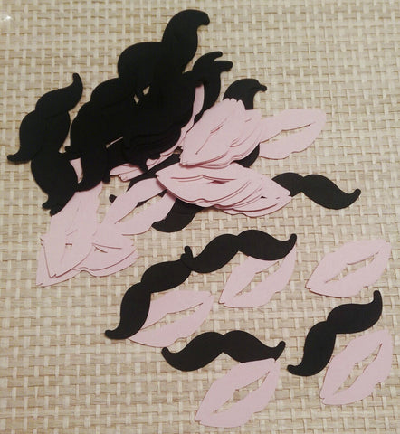 Black Mustaches and Pink Lips for Scrapbooking, Party Confetti, Card Making (90)