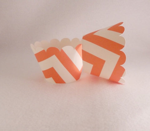 Cupcake Wrapper Orange,Ivory Chevron Print , Baby Shower,Wedding Decoration, Birthday Celebration, Tea Party