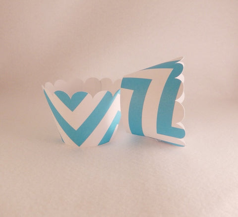 Cupcake Wrapper Turquoise Chevron Print , Baby Shower,Wedding Decoration, Birthday Celebration, Tea Party