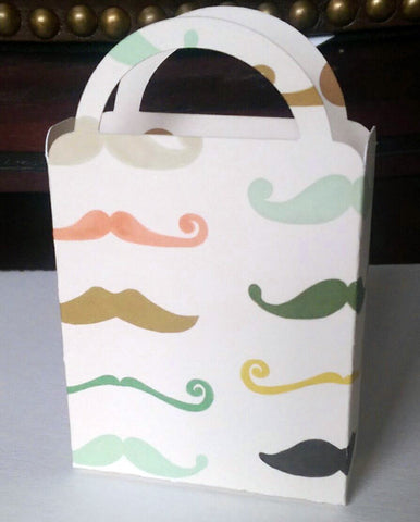 Miniature Mustache Bag, Ivory, Green, Gold, Orange Candy Box, Cookie Box, Baby Shower, Birthday Party (6)
