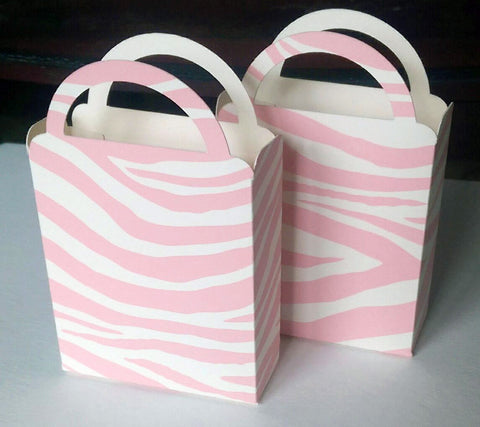 Miniature Pink an Ivory Zebra Print Bag, Candy Box, Cookie Box, Baby Shower, Birthday Party, Bridal Shower, Party Favor Box (6)