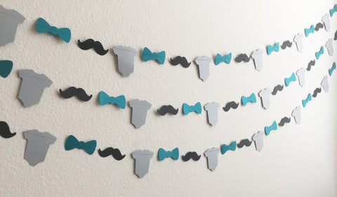 1 Black Mustache, Teal Bow Tie, Gray Onesie Paper Garland for Little Man Themed Baby Shower, Birthday Party, Baby Nursery