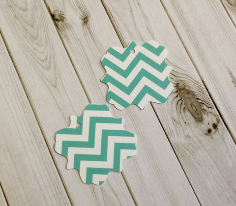 Light Turquoise Chevron Style Bracket Gift Tags, Retail Tags, Scrapbooking, Card Making- 24