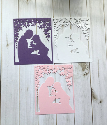 Mother and Son Silhouette Intricate Cut Scrapbook, Card Making Embellishment (3)